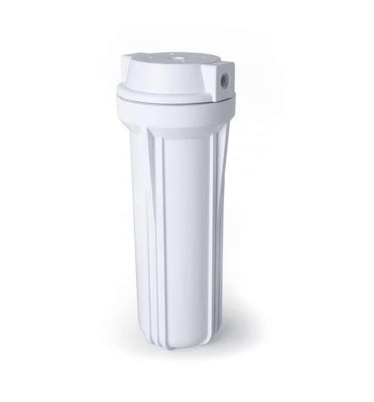 """Vaso 10"""" Blanco Rosca 1/4 para equipos purificadores de Osmosis Inversa.  Bbagua."""
