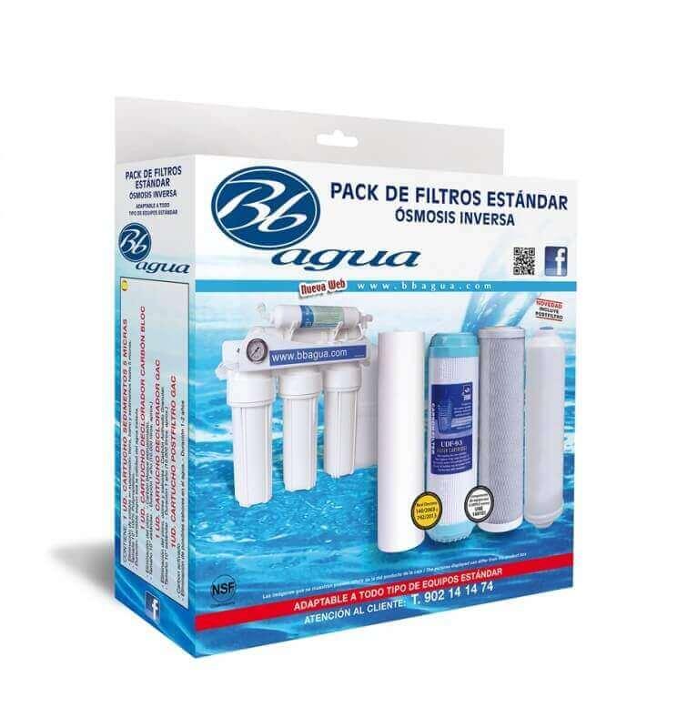 Pack 4 Filtros para equipos purificadores de Osmosis Inversa.  Bbagua.